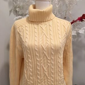 Turtle neck warm cable sweater